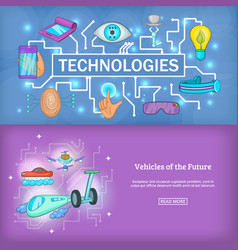 technology banner set template cartoon style vector image