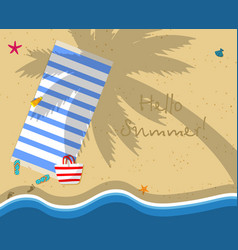 Top view of empty beach with towel bag slippers vector