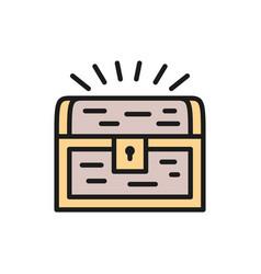 treasure chest flat color line icon vector image