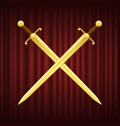 two gold swords with brown hilt crossed vector image