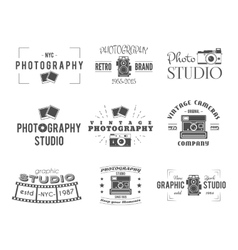 Vintage Photography Badges Labels Monochrome vector image