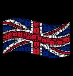 waving great britain flag mosaic of lock icons vector image