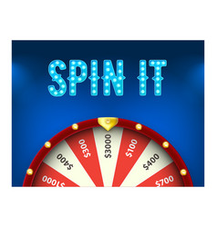 wheel fortune 3d object isolated on blue vector image