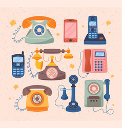 wire cell smartphones mobile phones set vector image