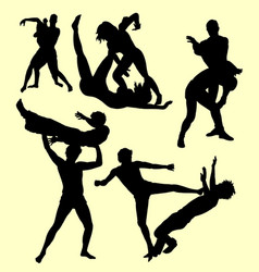 wrestling fight sport silhouette vector image
