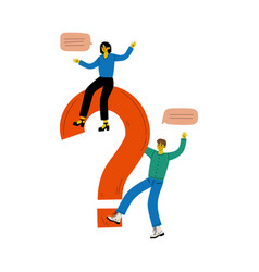 young man and woman with a big question mark vector image