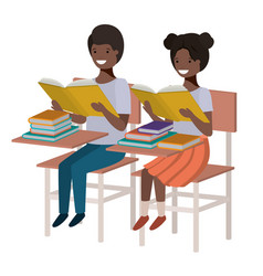young students reading in school desk vector image