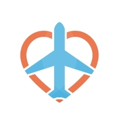 airplane and heart logo design template vector image