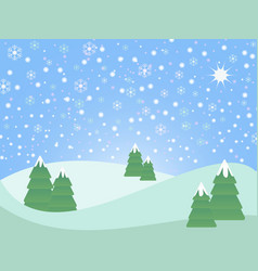 christmas winter scene landscape vector image vector image