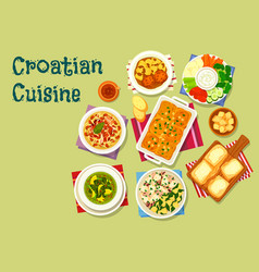 Croatian cuisine lunch icon with seafood and meat vector