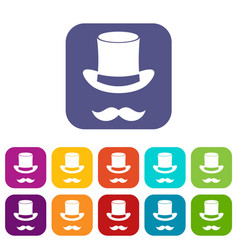 Magic black hat and mustache icons set vector