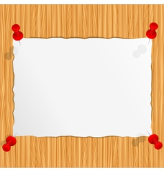 paper on the wooden wall vector image vector image