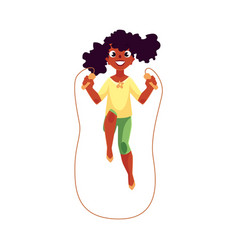 teenage caucasian girl playing with jumping rope vector image