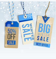 winter sale realistic tags on winter background vector image vector image