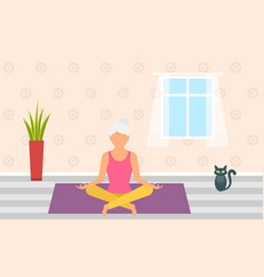 adult woman meditating in pose lotus home vector image vector image