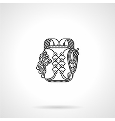 Black line flat icon for backpack vector image