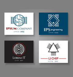 it and engineering logo company card set vector image vector image