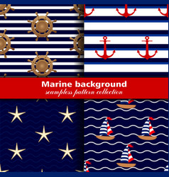 Marine background Set of seamless patterns four vector image