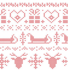 Nordic seamless stitched christmas pattern vector image