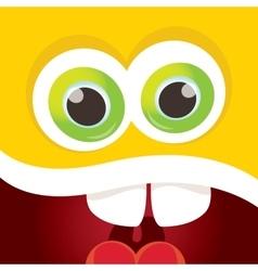 Orange funny monster face vector