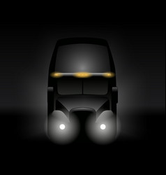 semi truck front view dark silhouette vector image vector image