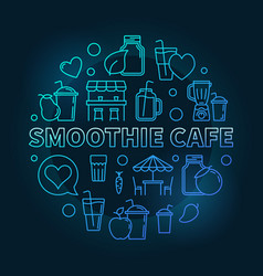 smoothie cafe blue round concept linear vector image