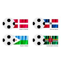 Soccer Ball with Denmark Dominican Djibouti Flag vector image vector image