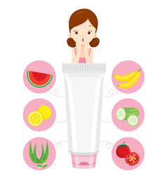 young woman with facial mask and fruit icons vector image
