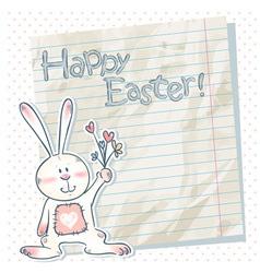 Easter cartoon bunny on a notebook scrap paper vector image vector image