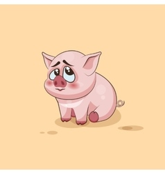 isolated Emoji character cartoon Pig embarrassed vector image vector image