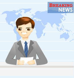 news announcer telling news in studio - vector image vector image