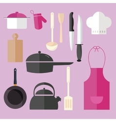 cooking icon set object in pink kitchen chef hat vector image vector image