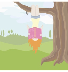 girl hanging upside down on the tree and reading vector image