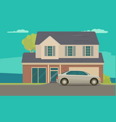 house and car near garage flat style vector image