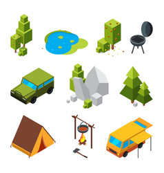 isometric pictures of camping garden stones and vector image vector image