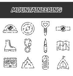 Mountaineering icon set vector image