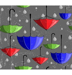 Pattern made of umbrellas and rain drops vector image vector image