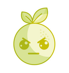 Silhouette kawaii cute angry orange fruit vector