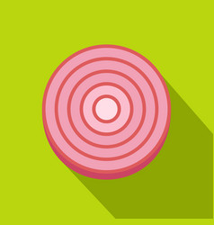 slice of sweet red onion icon flat style vector image