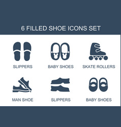 6 shoe icons vector