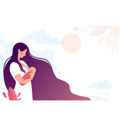 a cute young mother breastfeeds a newborn baon vector image