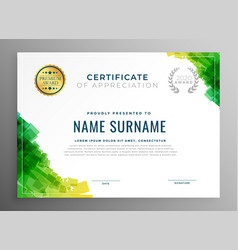 Abstract green certificate of appreciation vector