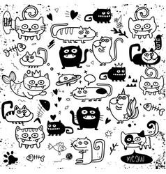 Activities funny doodle cats set hand drawn vector