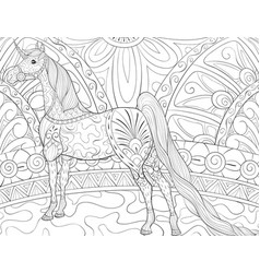adult coloring bookpage a cute unicorn for vector image
