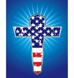 american flag cross illustration vector image