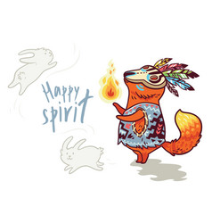 Baby fox shaman with feather print vector