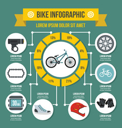 Bike infographic concept flat style vector