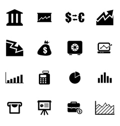 black economic icon set vector image
