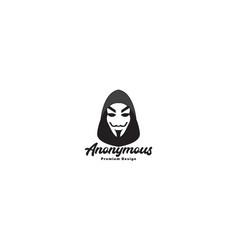 Black mask anonymous head logo symbol icon design vector