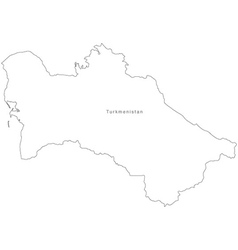 Black White Turkmenistan Outline Map vector image